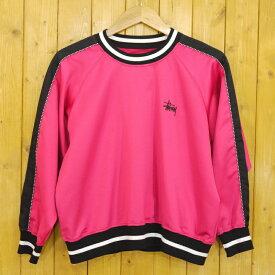 【中古】STUSSY/ステューシー 長袖カットソー サイズ:M カラー:ピンク×ブラック【f110】