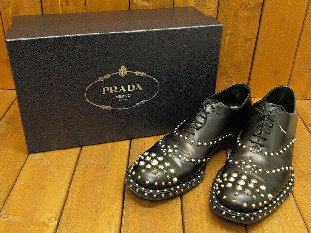 【中古】PRADA/プラダ 2803 レザー スタッズ ウイングチップシューズ サイズ:6 1/2(約25.0〜25.5cm) カラー:ブラック