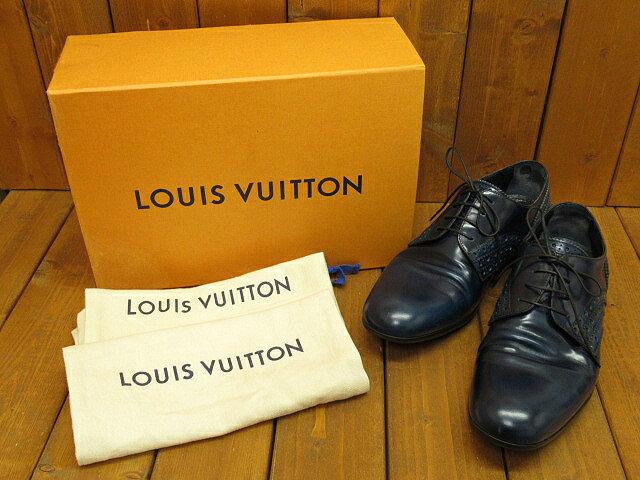 【中古】 LOUIS VUITTON/ルイヴィトン MT1115 スカイライン ラインダービーウイングチップレザーローファー / レザーシューズ サイズ:5(約24.0cm) カラー:ネイビー