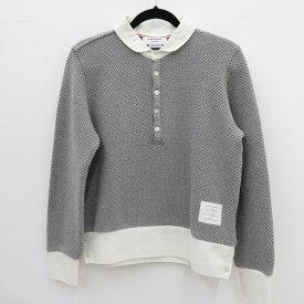 【中古】THOM BROWNE|トムブラウン ポロシャツ長袖 グレー サイズ:2【f108】