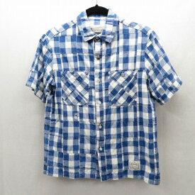 【中古】NEIGHBORHOOD/ネイバーフッド ブロックチェックパッチワークシャツ半袖 サイズ:S カラー:ブルー / ストリート【f103】