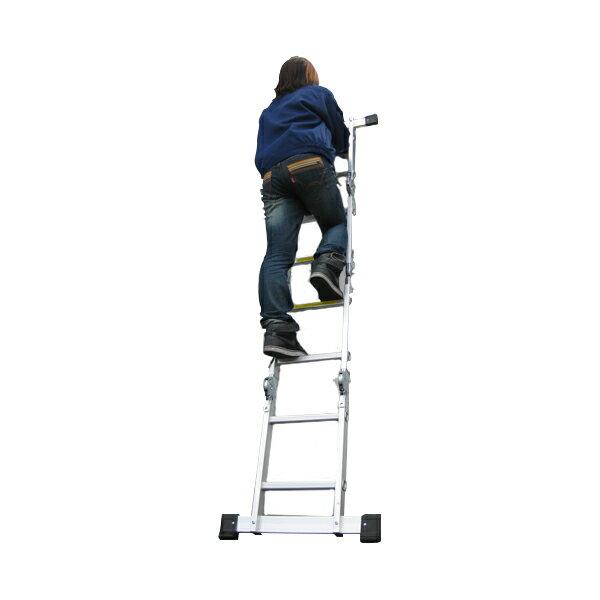 脚立 はしご 3way アルミ製 折畳み式 多機能 2.3m 230cm 2段 折り畳み 梯子 ハシゴ 足場 スーパーラダー 軽量 伸縮 4つ折り 四つ折り 踏み台 作業台 アルミブリッジ 洗車 高所作業 雪かき 屋根上り###多機能はしごM0108D###