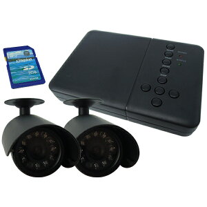 防犯カメラ 自動感知機能付 防犯カメラ2台 録画装置セット 暗視 防水 SD付 防災 送料無料 ###D2692JN###