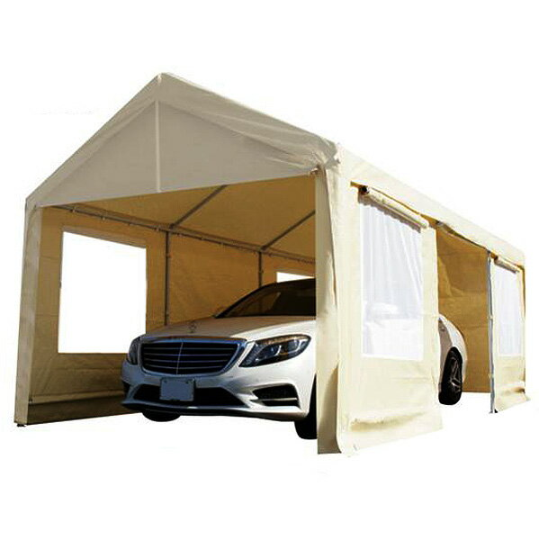 CANOPY スチール製 車庫テント カーポート 6×3m 大型 車 駐車 スチール製 頑丈 仮設倉庫 送料無料 ###車庫・倉庫・テントB◇###