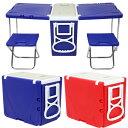 クーラーボックス ピクニックテーブル ウィングクーラー キャスター付 テーブル 椅子 2個付 折りたたみ テーブルに変…