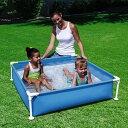 プール フレームプール ミニプール ボックスプール 120×120cm 子供用 組立 設置 簡単 家庭用 コンパクトサイズ マン…