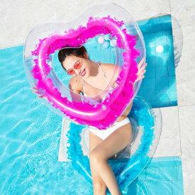 浮き輪 フェザーフロート 羽根 羽入り 可愛い ハートフロート ハート浮き輪 ハート型浮き輪 浮き輪 海水浴 プール ビーチ おしゃれ かわいい SNS インスタ映え 送料無料 お宝プライス ###羽毛浮き輪EXUMYQ###