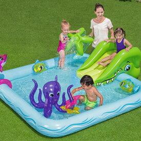 滑り台付き 大型 ジャンボ プール 家庭用 ビニールプール 子供用 プレイセンタープール 水遊び インスタ映え SNS おしゃれ 送料無料 ###滑り台プール53052###
