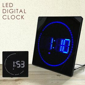時計 LED デジタルクロック スクエア スリム 掛け時計 置き時計 ウォールクロック カレンダー機能 温度計 おしゃれ プレゼント ギフト 送料無料 ###時計JH3280###