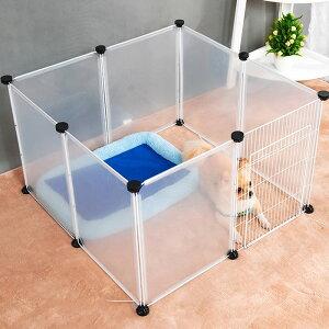 ペットサークル ペットフェンス ペットパーテーション ペットゲート クリア 45×35cm 12枚組 ジョイント式 飛沫 屋内 室内 間仕切り 透明 ついたて 組み立て 置くだけ 犬用 猫用 ペット用品 ペ