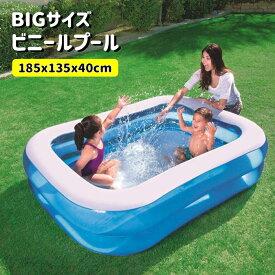 プール ビニールプール ファミリープール 大型 185×135cm 2気室 クッション性 水あそび レジャープール 家庭用プール 子供用プール###プールAPL102-N1###