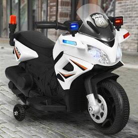 電動乗用 アメリカン ポリスバイク 乗用玩具 子供用 補助輪付き 充電式 ライト点灯 サイレン付き 安心 安全 送料無料 ###乗用バイクBJC911###