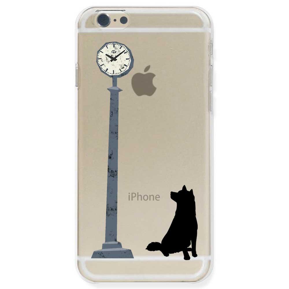 【定形外郵便で送料無料】iPhone6S/6, iPhone6s/6 Plus, iPhone5s ケース ハードケース クリア ポリカーボネイト ドッグ 時計を気にする柴犬