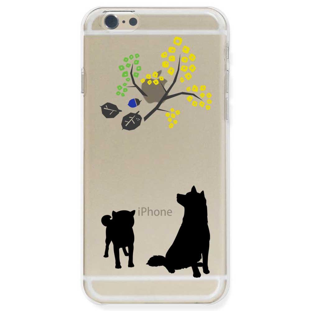 【定形外郵便で送料無料】iPhone6S/6, iPhone6s/6 Plus, iPhone5s ケース ハードケース クリア ポリカーボネイト ドッグ 柴犬親子 北欧風