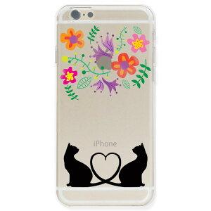 iPhoneケース 猫 iphone7 ケース TPU iphone6s ケース ソフト クリアケース 猫ハート フラワースマホケース