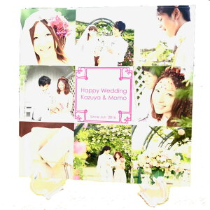 メモリアル用アクリルフォトプレート 30x30x1cm (スタンド付)   ギフト 結婚 プレゼント 写真 プリント 名入れ アクリル キューブ フォト フレーム フォトフレーム 記念品 結婚式