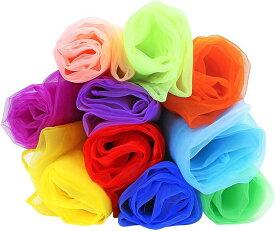 リトミック スカーフ オーガンジー ダンス カラーシフォン 子ども レクリエーション 10色セット