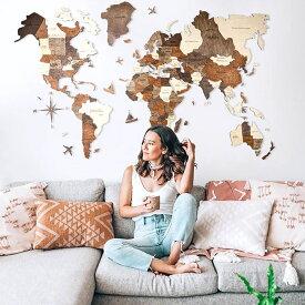 世界地図 インテリア 木製 壁掛け 【Lサイズ】 ナチュラルウッドカラー 3D Wood World Map 高級感ある木の温もり 壁掛け木製世界地図 インテリアをもっとオシャレ&グローバルに!