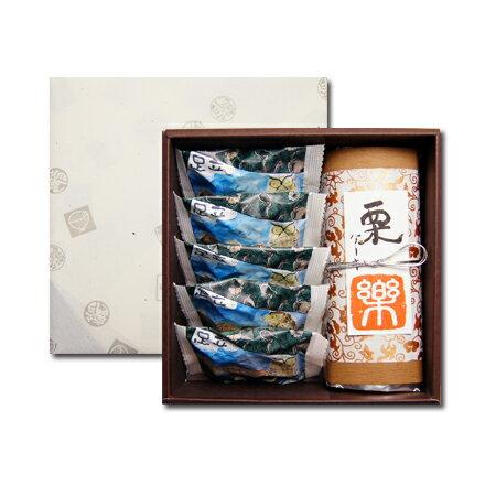 送料無料 お供え・弔事用包装 栗のケーキ「楽(らく)」 と森のケーキ5個のギフトセット ギフト