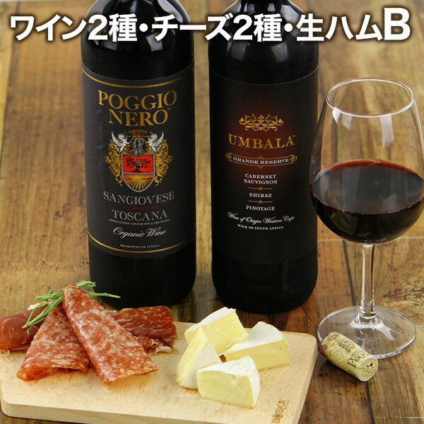 ラッピング無料 送料無料 白ワイン 赤ワイン 厳選ワイン2種 チーズ 生ハム サラミの豪華ワインギフトセット ワインセット