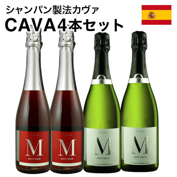 スパークリングワインセット 送料無料 カヴァcava4本セット 辛口2本 中甘口2本 シャンパン製法 瓶内二次発酵 スペイン産泡