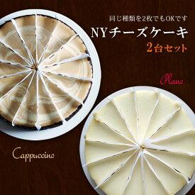 ニューヨークチーズケーキ 2枚セット プレーンとカプチーノ組み合わせ自由 直径20cm カット済 アメリカ産 冷凍ケーキ
