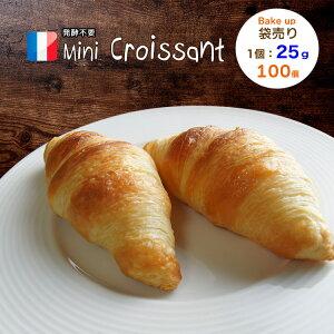 ミニクロワッサン ベイクアップ 25g 100個 冷凍 パン生地 フランス産 業務用 【袋入り】