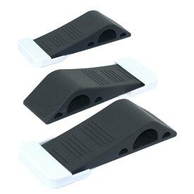ラバー製 ドアストッパー 弾性あるドアホルダー 蓋付き 玄関 室内に適用 ブラック (3個セット)