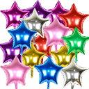 アルミバルーン 風船 アルミ 星型 16個入 45cm 誕生日 パーティー 華やか 飾り付け (星型 8色 16個)