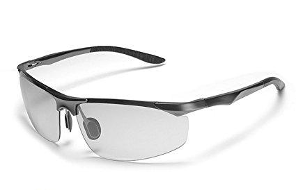 変色調光サングラス 偏光サングラス スポーツサングラス 紫外線に反応して色が変わる変色メガネ 超軽量 UV400 紫外線カット ケース付