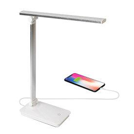 USB給電 デスクライト ホワイト LED 卓上ライト 目に優しい 折りたたみ式 タッチセンサー 三段階調光 USB充電ポート付き 省エネ読書/勉強/仕事ライト (ホワイト)