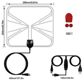 室内 HD テレビ 地デジアンテナ 室内 テレビアンテナ USB式地デジペーパーアンテナ 超薄型設置簡単 増幅器付き ケーブル付き