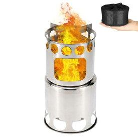 キャンプストーブ アウトドア用 ウッドストーブ 二次燃焼 燃料不要 キャンプ 焚火台 コンパクトステンレスストーブ 収納パック付