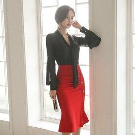 シャツトップス スカート 2点セット レディースブラウス Vネック フリル シースルー 長袖 ミディ丈 着痩せ 大きいサイズ オシャレ エレガント 大人かわいい おしゃれ 上品 フォーマル 結婚式 お呼ばれ 韓国ファッション