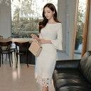 【あす楽対応】タイトワンピース タイトドレス ゲストドレス 長袖ワンピース 白ワンピース フォーマルワンピース フォーマルドレス パーティーワンピース 裾レース フレア袖 フレアスリーブ ベルスリーブ 大人 シンプル おしゃれ かわいい 上品 大きいサイズ韓国ファッション