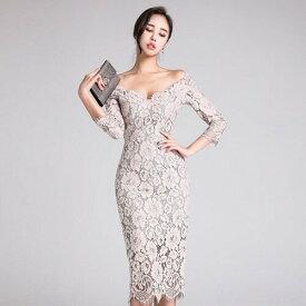 (あす楽対応)タイトワンピース タイトドレス 総レースワンピース vネックワンピース オフショルダー 七分袖 ミディ丈 フォーマルワンピース フォーマルドレス ゲストドレス 大人かわいい おしゃれ 上品 結婚式 パーティー お呼ばれ 大きいサイズ 韓国ファッション