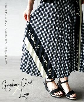 プリーツスカート。ギンガムチェック。ブラック。ロゴ。7/2522時販売新作〇メール便可