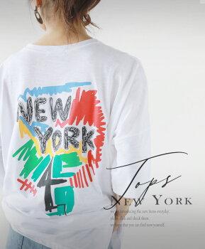 Tシャツ。ホワイト。ロゴ。アクセントになるニューヨークロゴ8/1622時販売新作〇メール便可