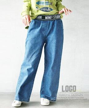 パンツ。デニム。ウエストゴム。ゆったり。ロゴ。ブルー。9/2222時販売新作×メール便不可