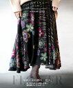【再入荷♪2月14日20時より】ロングスカート。変形。あったか。花柄。ブラック。華麗に流れ降る、花々。全ての人にこ…