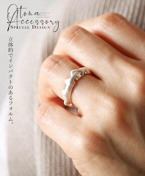 指輪。シルバーカラー。立体的でインパクトのあるフォルム。1/3022時販売新作〇メール便可