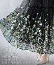 チュールスカート。刺繍。花柄。ティアード。ブラック。咲き誇る花々を落とし込む。余 韻 を 残 す 大 人 の エ ア リ…
