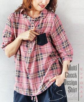 トップス。シャツ。ボタン。胸ポケット。チェック。ピンク。MultiCheckDesignShirtピンクのススメ8/320時販売新作×メール便不可