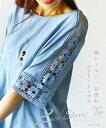 【再入荷♪8月19日22時より】(ライトブルー)袖レースに一目惚れコットントップス6/22 22時販売新作〇メール便可