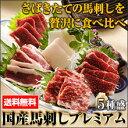 熊本 国産馬刺しプレミアム5種盛セット 【送料無料】注文を受けてからさばく馬刺し