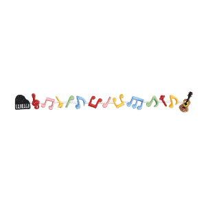 音楽雑貨 ★ SWS-23:刺繍ワッペンシール(シール・アイロン接着両用):音符と楽器【クロネコDM便対応】