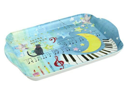 ミニトレー 猫とけんばん (ブルー系)猫と月 ピアノ 発表 会記念品 音楽雑貨 24900632 8870003 レオノーレ ジャストウイロー K20285