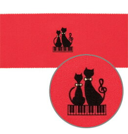 ★ピアノキーカバー ネコと鍵盤/レッド CO-120K/CK/RE