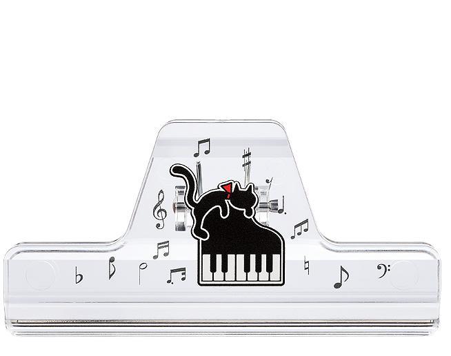 ミュージッククリップ クリア ネコとピアノ CLW-30CNP 音楽雑貨