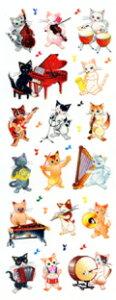 音楽雑貨 ★ラメ入りシール 猫の音楽隊 ZR346 ステッカーファン
